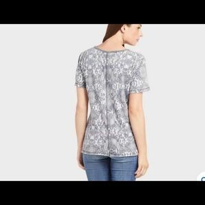 NWT Free People Black Combo Snakeskin t-shirt XS